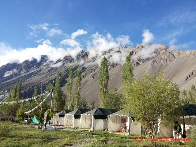 Beautiful View of the Tents in Nubra valley and the surrounding mountains