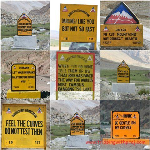 Signboards by Border Roads Organization