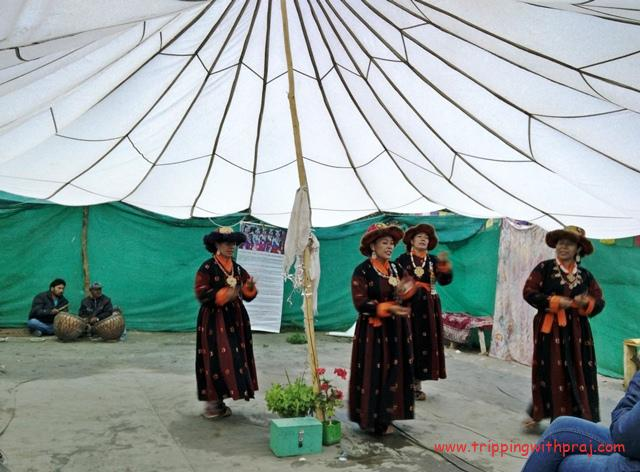 Locals singing and dancing to the tunes of Ladakhi folk songs