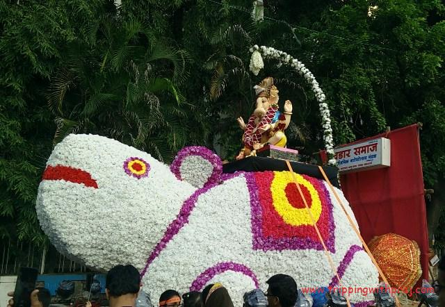 Ganesh Idol procession on a mouse - its Vehicle