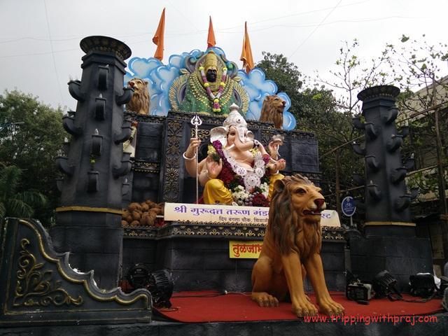 Ganpati Idol with a depiction of Goddess Tulja Bhavani of Tuljapur