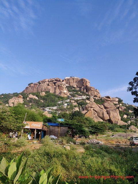 Anjanadri Hill (Birthplace of Hanuman) from the Base