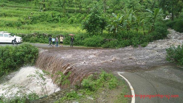 Huge Waterfall that washed Away the Road
